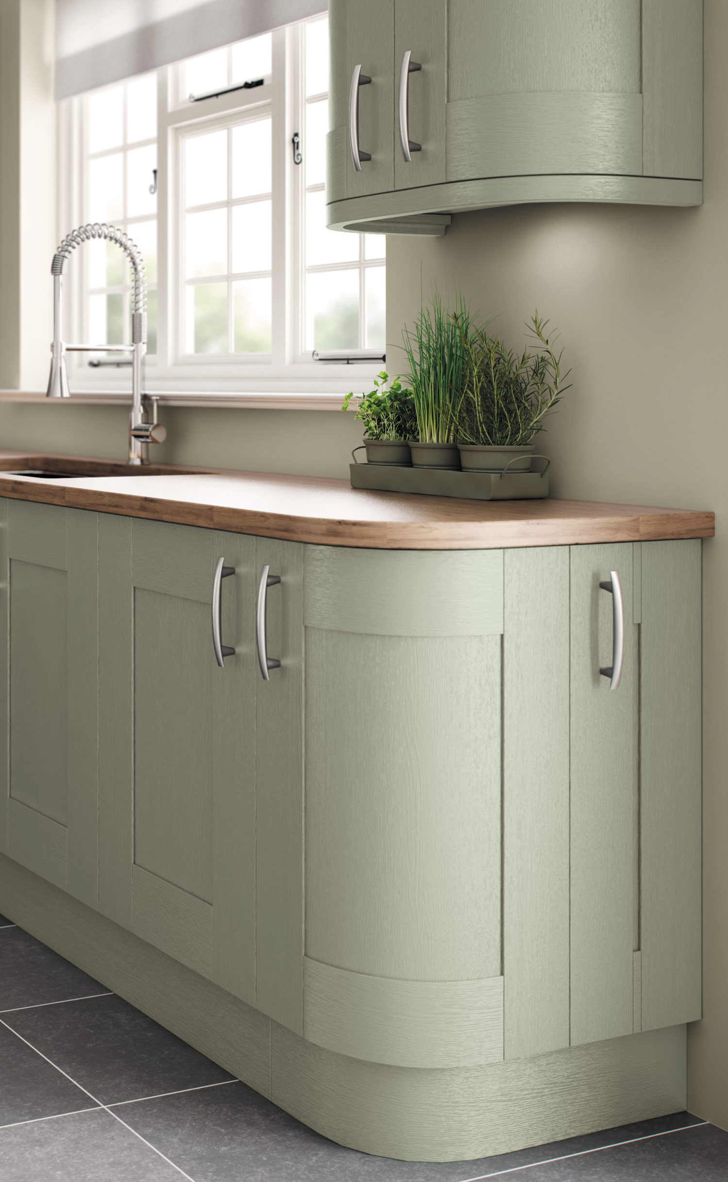 Fairford painted sage green pebble kitchens for Sage green kitchen units