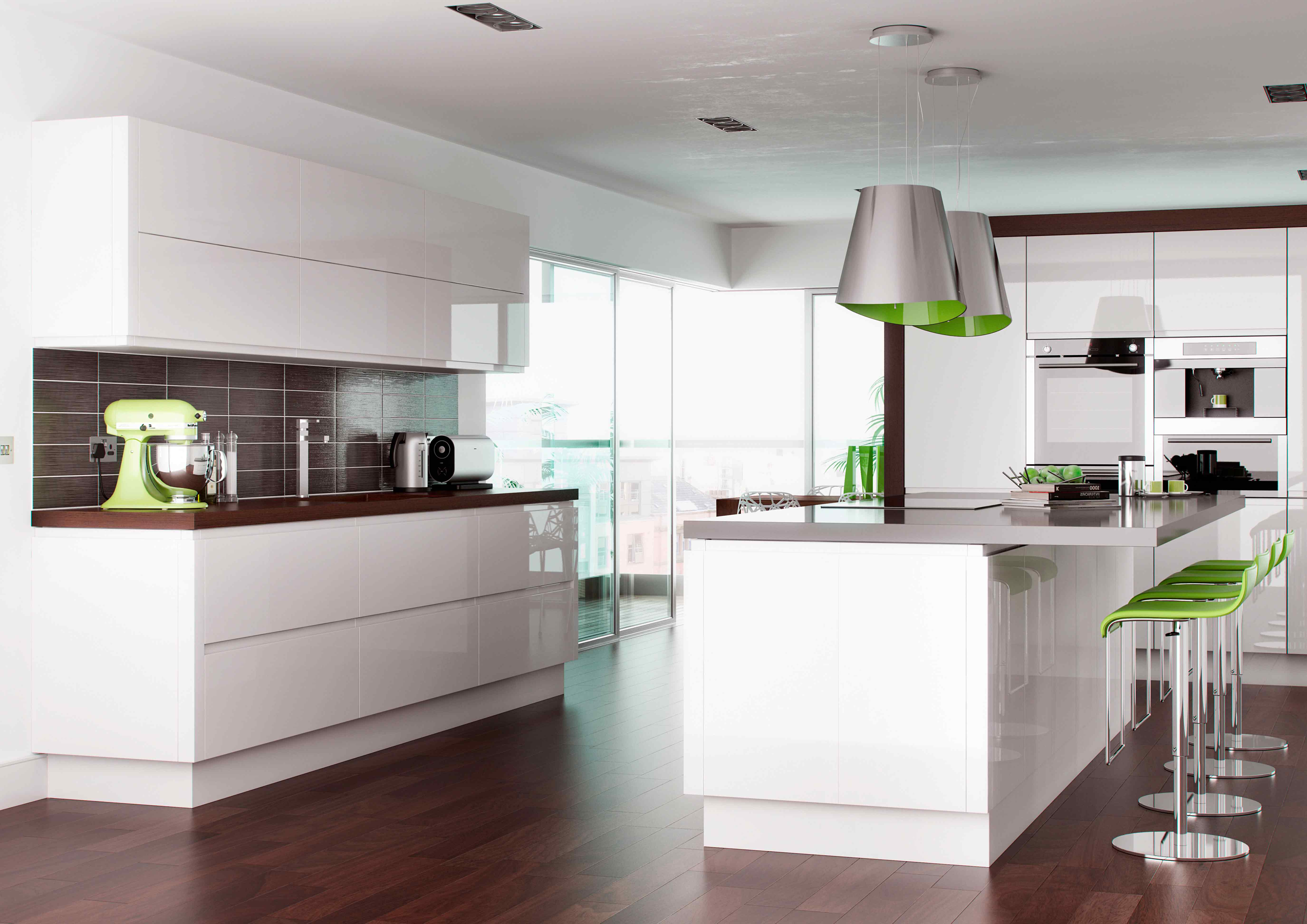 Rimini handleless white pebble kitchens for Perfect kitchen colours